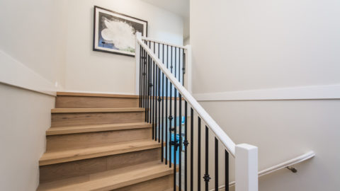 Wooden stairs in show home